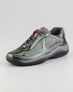 How about some emerald on your sneakers? YES!   America\'s Cup Sneaker, Green/Gray by Prada at Neiman Marcus.