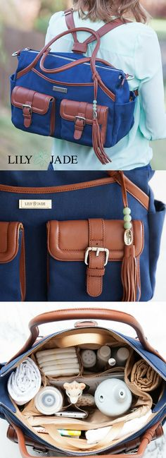 This is a backpack diaper bag...that's right I said it! There is FINALLY a stunning, sturdy backpack diaper bag that you can wear with confidence! Click here to find your own Lily Jade diaper bag and fall in love with it yourself.