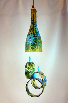 "Wind Chime, ""Turquoise Daisy"" , made from recycled wine bottle -  fashioned  into a Wine-Chime!"