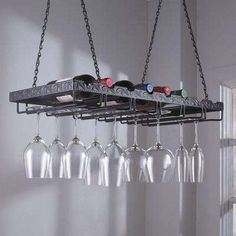 13-3/4 in. W x 2-3/4 in. H x 26 in. D Metal Hanging Wine Glass Rack