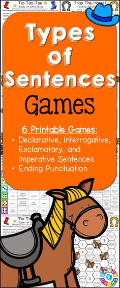 Looking for fun ways to practice types of sentences? This Types of Sentences Games packet contains 6 fun and engaging printable board games to help students to practice declarative, imperative, exclamatory, and interrogative sentences and their ending punctuation! https://www.teacherspayteachers.com/Product/Types-of-Sentences-2033697