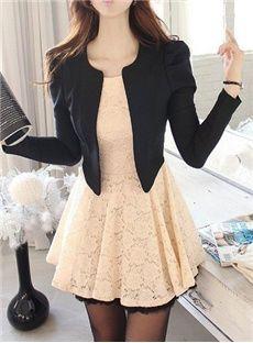 High Quality Fake Two Piece Slim Lace Dress