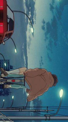Film Anime, Anime Art, Retro Aesthetic, Aesthetic Anime, Animes Wallpapers, Cute Wallpapers, Blue Anime, Studio Ghibli Art, Ghibli Movies