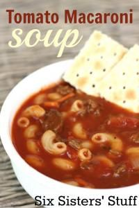 Tomato Macaroni Soup Recipe from Six Sisters on MyRecipeMagic.com is perfect for a cold day! #soup #tomato #macaroni