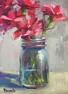 cathleen rehfeld • Daily Painting: Pink Flowers in a Jar