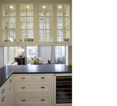 See Through Glass Cabinets Divide Living Room From Kitchen White Dark