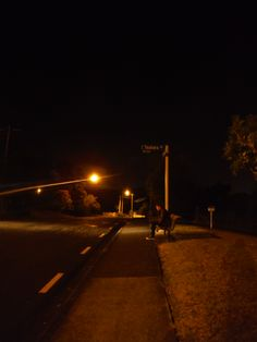 waiting for the last bus, night, streetlight