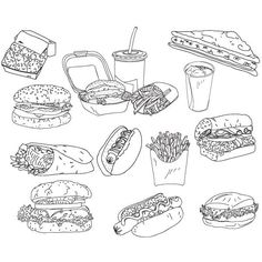 Download vector fast-food doodles | Grafpedia ❤ liked on Polyvore featuring fillers, doodles, drawings, art, backgrounds, text, quotes, effect, phrase and saying