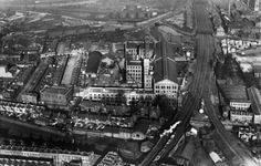 The sprawling Bryant and May Match Factory located in Bow and seen in this 1921 aerial view. It survived as an independent company for over seventy years, The company was founded by two Quakers, with the specific aim of making only Safety Matches. They were influential in fighting against the disease known as Phossy jaw which was caused by white phosphorus used in the manufacture of the early matches.  The original Bow match factory was closed in 1979, when it still employed 275 people.