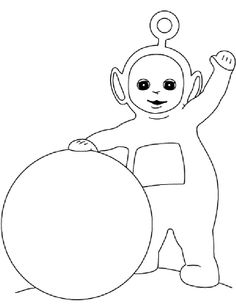 poo playing ballons coloring page - Teletubbies Dipsy Coloring Pages