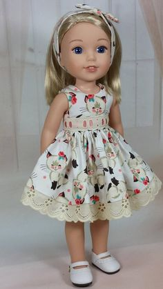 Wellie Wishers Vintage Kitty Print Dress with Fancy Eyelet and Headband, American Made to Fit 14 Inch Girl Doll