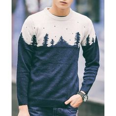 Autumn Vintage Round Neck Cartoon Trees Jacquard Color Spliced Long Sleeves Men's Slim Fit Sweater