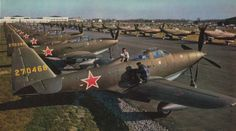 Brand new American-made Bell P-39 Airacobras ready for transport to the Soviet Union via the Alaska-Siberia air link.