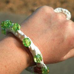 Green Bead Upcycled Macrame Bracelet