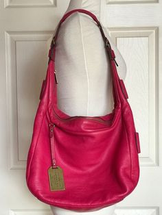 RALPH LAUREN Fuchsia Pink Pebbled Leather Hobo Bag Size Medium #RalphLauren #Hobo