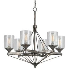 Cal Lighting FX-3538/6 Chandelier with Clear Seeded Glass Shades, Textured Steel…