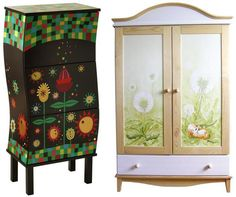 Hand-painted furniture / ręcznie malowane meble Love the one on the left