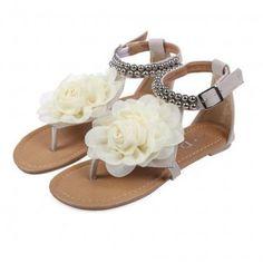 eda83b6f65036 White Flat Sandals With Flowers On Top Flip Flops Damen