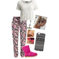 Lazy Day❤️ by jordynchaput on Polyvore featuring polyvore, fashion, style, VILA, Markus Lupfer, UGG Australia and With Love From CA