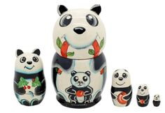 Matryoshka nesting doll Pandas 5 pc   ArtMatryoshka - Toys & Hobbies on ArtFire