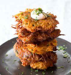 Sweet Potato Latkes with Chipotle Sour Cream | dramatic pancake | bring something to the table