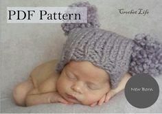 Baby Double Pompon hat, PDF Pattern, Knitting pattern, Knit baby hat, Newborn Photo prop, Knit your own, Pompon hat by daryacrochetlife. Explore more products on http://daryacrochetlife.etsy.com