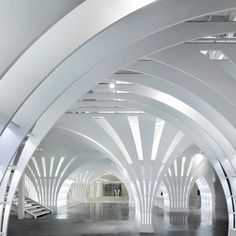Dandelion-inspired columns create curved arches inside Beijing toy shop by Penda