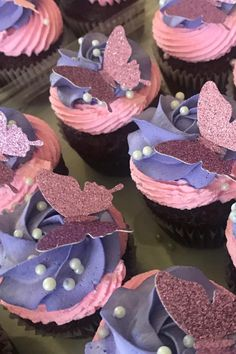birthday party Pink and Purple Butterfly Cupcakes Butterfly Birthday Cakes, Butterfly Birthday Party, Butterfly Cupcakes, Butterfly Baby Shower, Baby Birthday, Purple Butterfly, Pink Purple, Butterfly Wedding Theme, Birthday Ideas