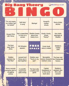 The Big Bang Theory | 19 Awesome Bingo Cards To Play While Watching Your Favorite TV Shows. Gonna do this! At least with Homeland, walking dead, five-o and the big bang theory :-)
