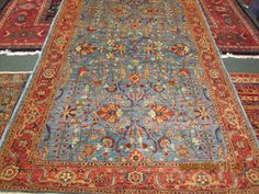 "Beautiful blue Afghan rug. 4'10"" x 7'7"""