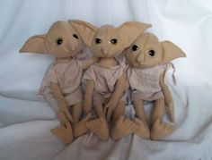 The cutest house elves I have seen. I wanna make a large one of these with wire in it so it can stand.