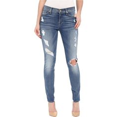 7 For All Mankind The Skinny w/ Contrast Squiggle Destroy in Stretch... ($135) ❤ liked on Polyvore featuring jeans, blue, distressed jeans, ripped jeans, blue jeans, blue skinny jeans and torn skinny jeans