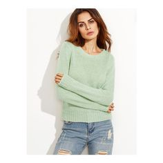 SheIn(sheinside) Green Ribbed Trim Sweater ($22) ❤ liked on Polyvore featuring tops, sweaters, green, loose tops, loose long sleeve tops, long sleeve tops, mohair sweaters and loose fitting tops
