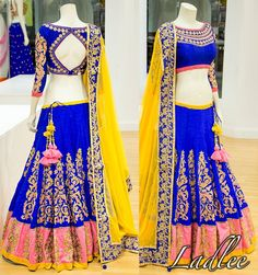 Love the blue and yellow Choli Designs, Lehenga Designs, Blouse Designs, Saree Models, Blouse Models, Pakistani Outfits, Indian Outfits, Indian Clothes, Indian Bridal Wear