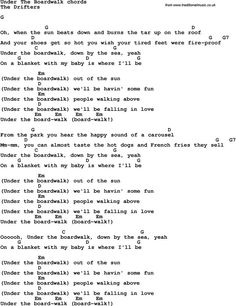 Song Lyrics with guitar chords for Under The Boardwalk - The Drifters