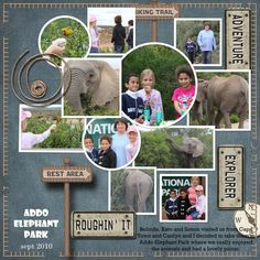 My grandaughter Caitlyn with Kate and Simon at the Addo Elephant Park, Eastern Cape South Africa. Kits : Scrap it Now templates_Linda Satgast abd Escape to Nature_Eva Kipler Vacation Scrapbook, Disney Scrapbook, Scrapbook Cards, Scrapbook Photos, Scrapbook Sketches, Scrapbook Page Layouts, Scrapbooking Ideas, Elephant Park, Multi Photo