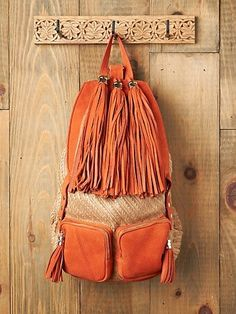 Shop Free People's beautiful boho bags, fringe purses, vegan totes, and more. Accessorize your outfit with a statement handbag that you could carry forever! Backpack Travel Bag, Leather Backpack, Fashion Backpack, Travel Luggage, Orange Backpacks, Cute Backpacks, School Backpacks, School Accessories, Bag Accessories
