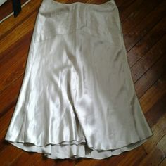 Bueatiful Silk Skirt 100 percent Silk NWOT!  Matt Silver Fully Lined gorgeous details in front and back! Ann Taylor Skirts