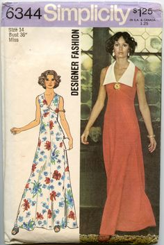1970s+Dress+Pattern+Simplicity+6344+Sleeveless+by+GreyDogVintage,+$10.00