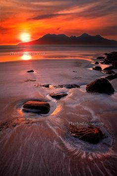 Sunset from Laig Bay, Isle of Eigg. Small Isles, Scotland. HDR; photo by Barbara R. Jones