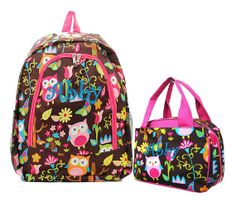 Set of 2 - Personalized Monogrammed Backpack Owls and Butterflies and Matching Lunchbox Tote Girls Children Kids Teens School