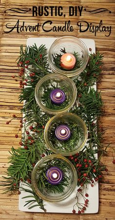 DIY, Rustic Advent Candle Display - This Michigan Life Advent Wreath Candles, Christmas Advent Wreath, Christmas Crafts, Advent Wreaths, Reindeer Christmas, Nordic Christmas, Christmas Centerpieces, Christmas Decorations, Christmas Tables