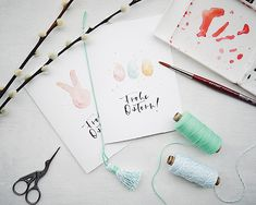 """Happy Easter with the """"Mrs. Lettering Guide, Brush Lettering, Lettering Design, Hand Lettering, Diy Easter Cards, Diy Cards, Karten Diy, Easter Holidays, Printable Cards"""