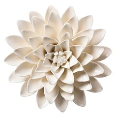 These exquisite handmade ceramic floral objects, inspired by nature, are the perfect summer garnish for dinner tables, shelves, and side tables. Each ceramic flower is carefully hand-sculpted sometimes using 100s of petals to form these bright, cheerful blooms. Back keyhole design allows you to easily hang on any wall or ceiling to create an #insta-worthy, one-of-a-kind art installation. Due to the handcrafted nature of this item, expect slight variation in the appearance of each unique… Metal Flower Wall Decor, Wall Decor Set, Art Decor, Ceramic Flowers, Metal Flowers, Paper Flowers, Blossom Flower, Flower Petals, Lotus Flower