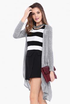 Holly Long Sleeve Cardigan in Grey | Necessary Clothing