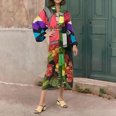 V-neck cardigan print dress – shetarget Kimono Dress, Kimono Top, Stylish Coat, V Neck Cardigan, Dress Silhouette, Stylish Dresses, Collection, Women, Fashion
