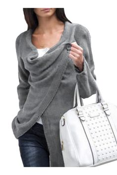 Fashion Long Sleeve One-Button Knitted Wrap Cardigan - OASAP.com
