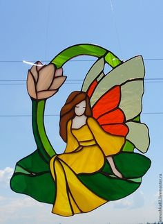 """Купить """"Фея на зелёном листе"""" витраж - фея, Витраж Тиффани, витражное стекло, стекло, крыло"""