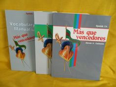 ABeka Spanish 2 A & B student w. Vocabulary Manual, Mas que Vencedores New Shape #WorkbookStudyGuide