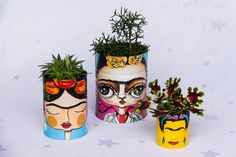 Diy Bottle, Wine Bottle Crafts, Bottle Art, Bottle Painting, Diy Painting, Tin Can Crafts, Arts And Crafts, Painted Tin Cans, Art For Kids